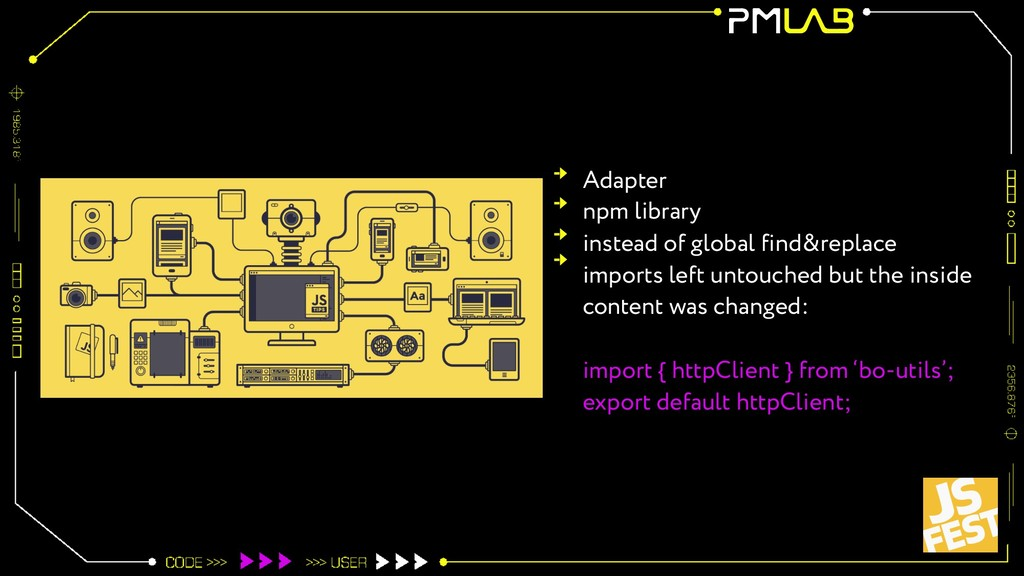 Adapter npm library instead of global find&repl...