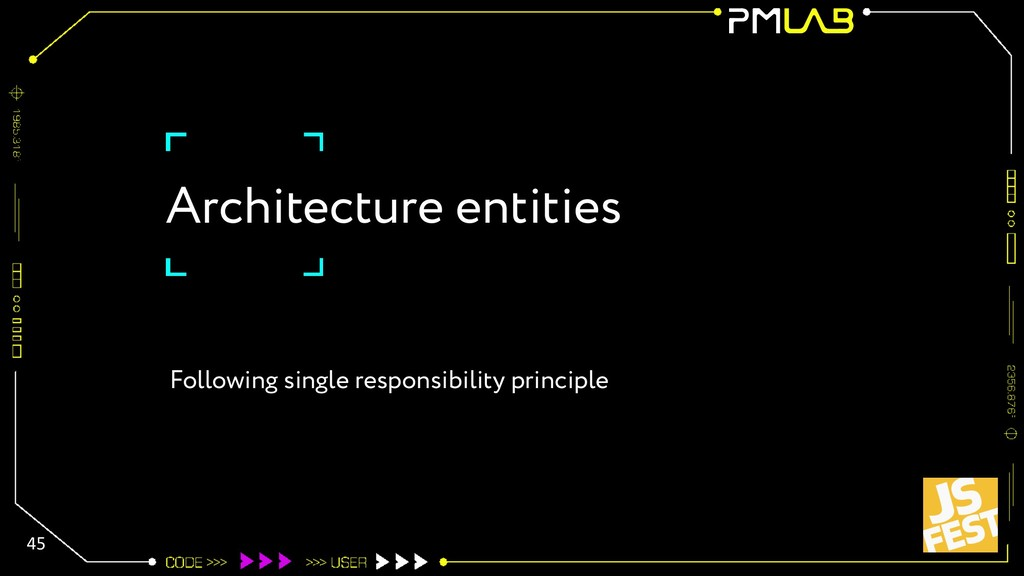 Architecture entities 45 Following single respo...