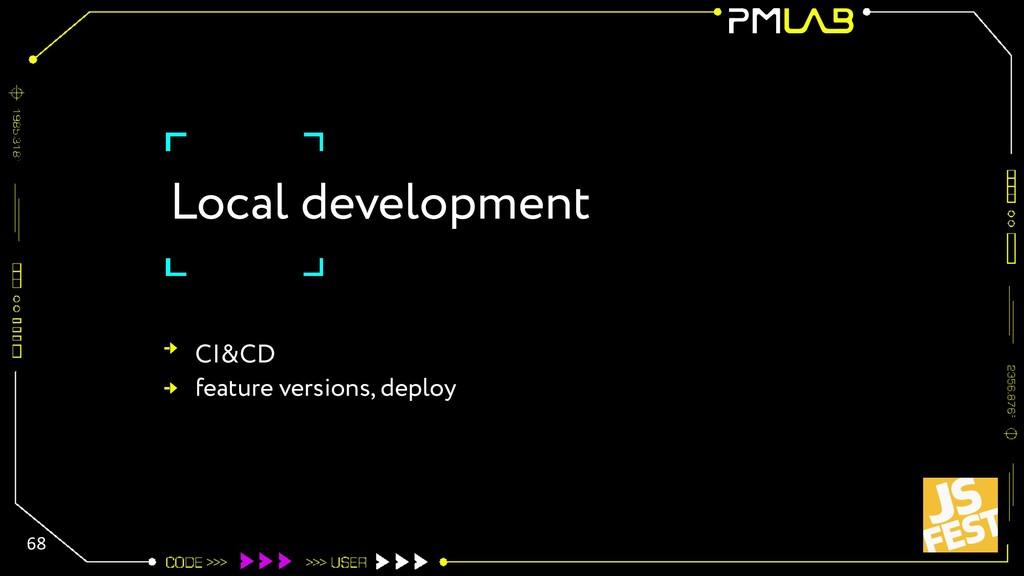 Local development 68 CI&CD feature versions, de...