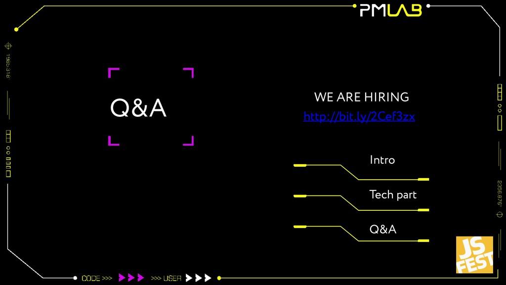 Q&A Intro Tech part Q&A WE ARE HIRING http://bi...