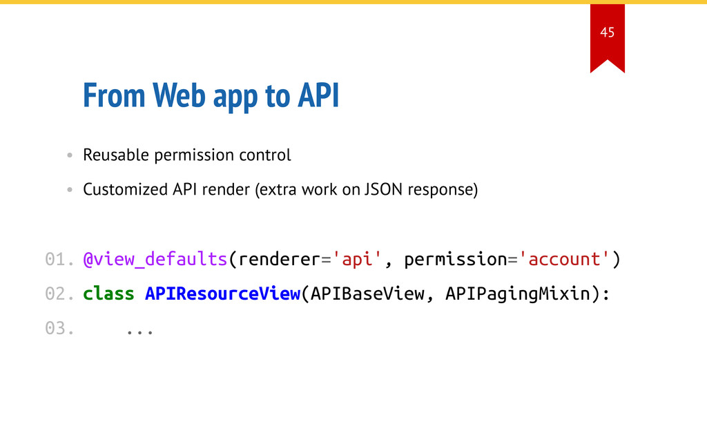 From Web app to API • Reusable permission contr...