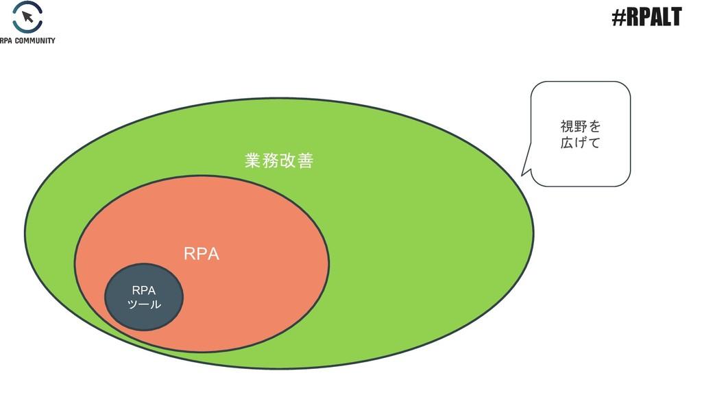 業務改善 RPA 視野を 広げて #RPALT RPA ツール