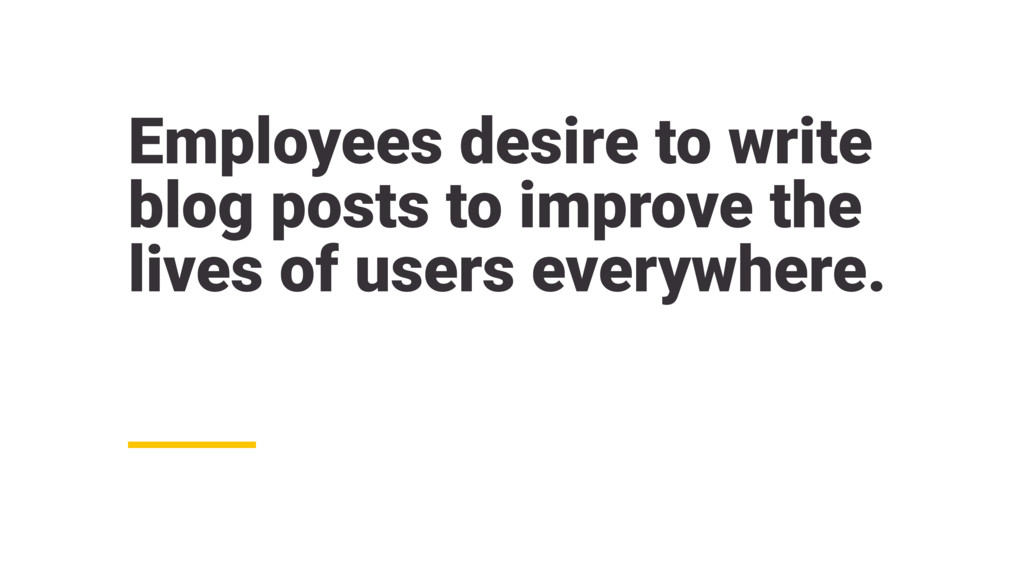 Employees desire to write blog posts to improve...