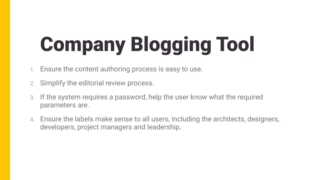 Company Blogging Tool 1. Ensure the content aut...