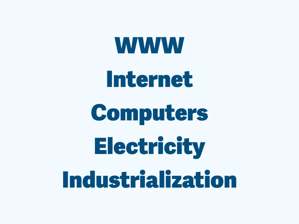 WWW Internet Computers Electricity Industrializ...