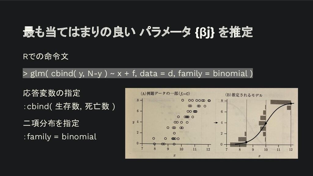 最も当てはまりの良い パラメータ {βj} を推定 Rでの命令文 > glm( cbind( ...