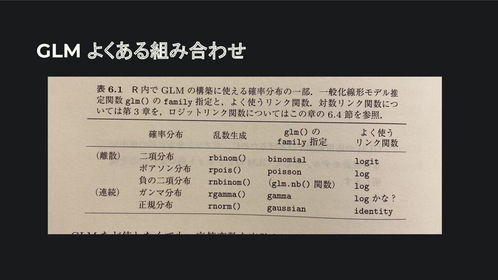 GLM よくある組み合わせ