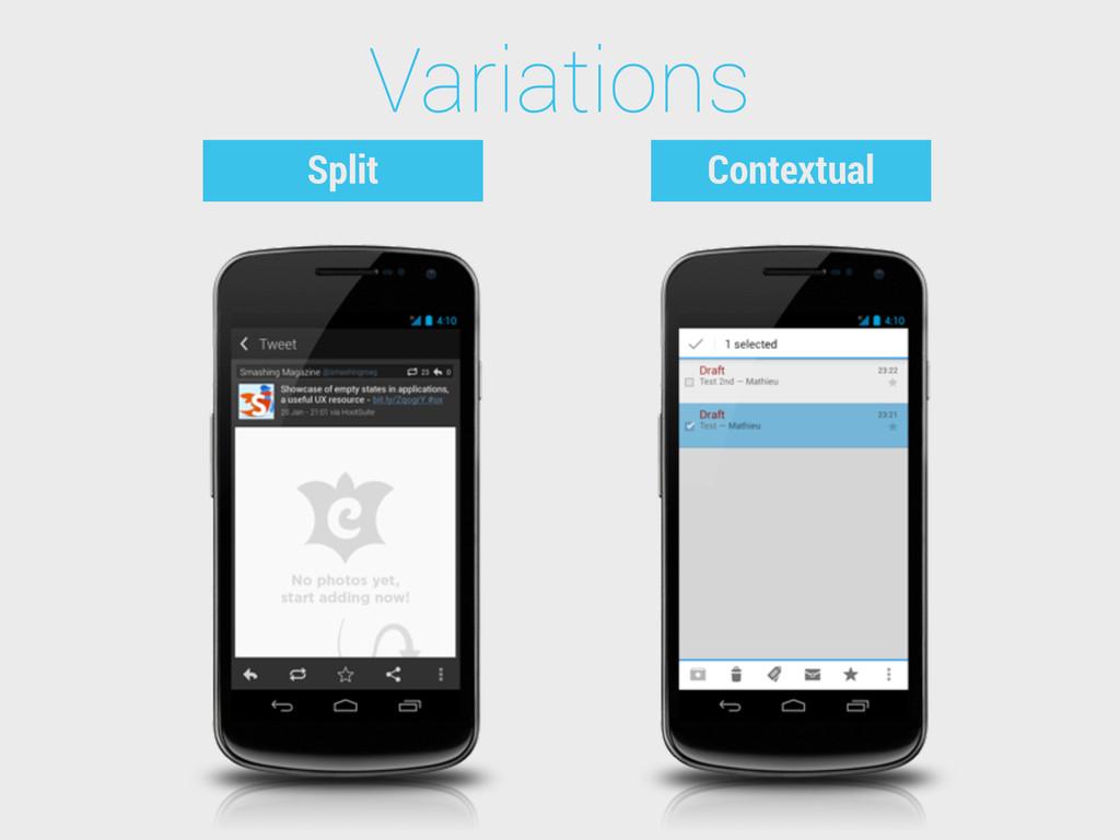 Variations Split Contextual