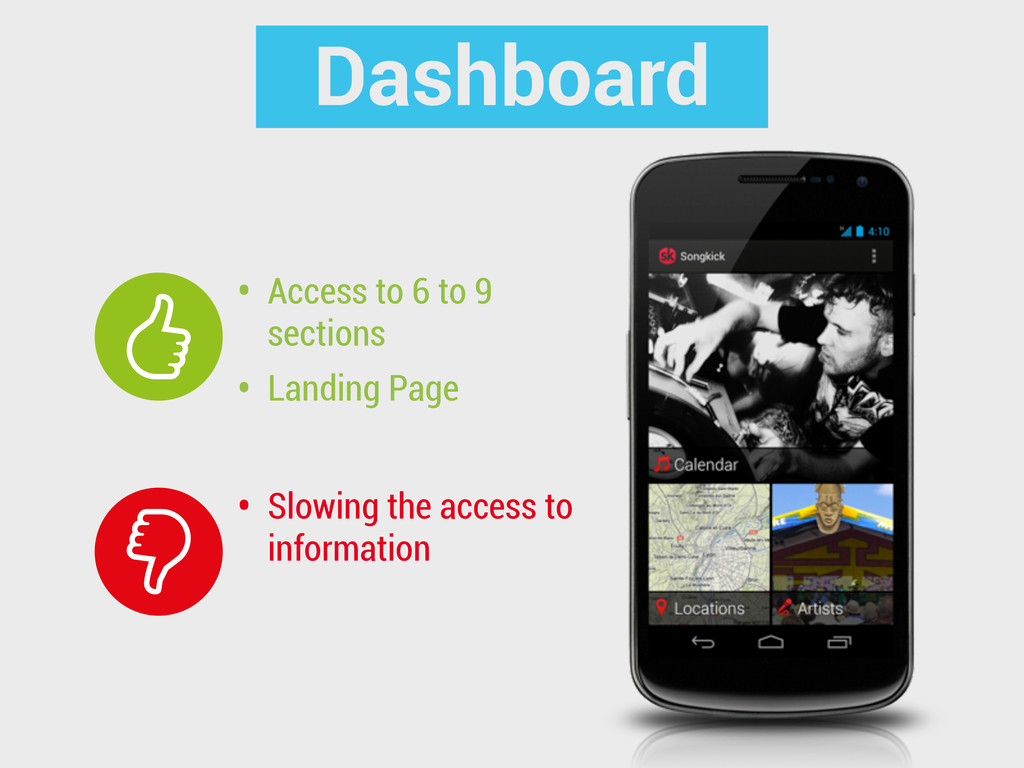 Dashboard • Slowing the access to information •...
