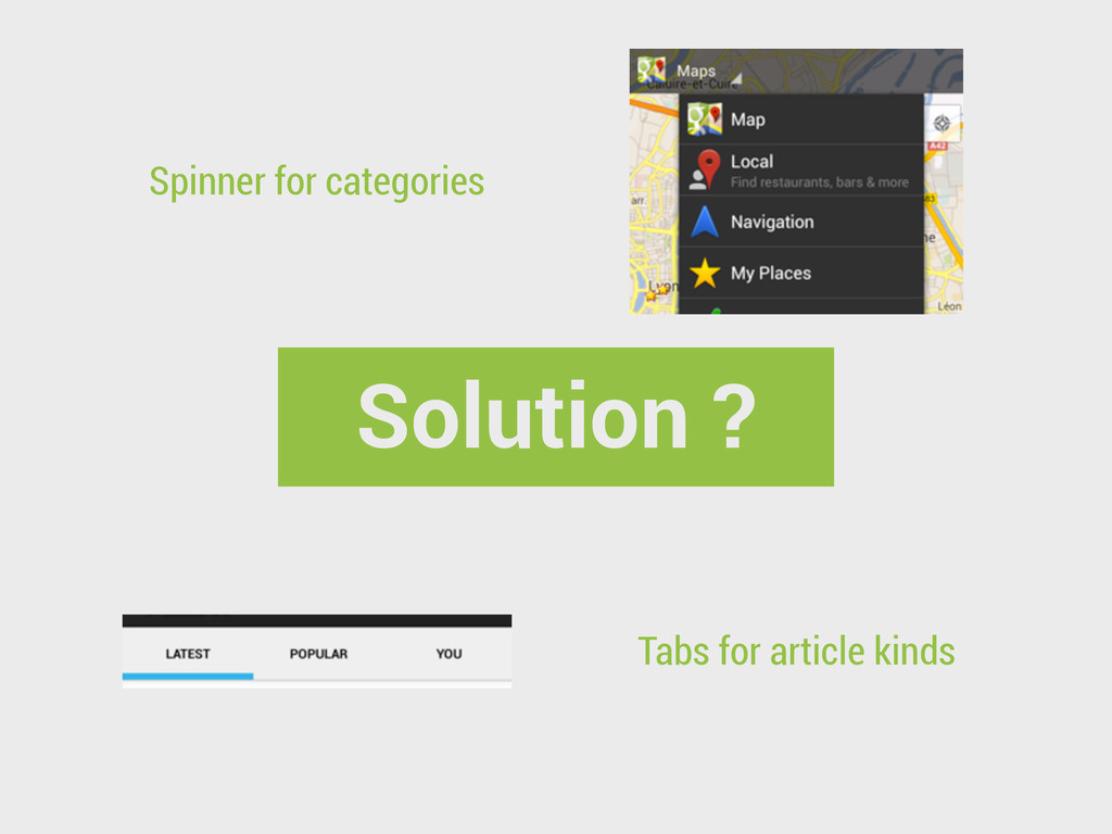 Solution ? Spinner for categories Tabs for arti...