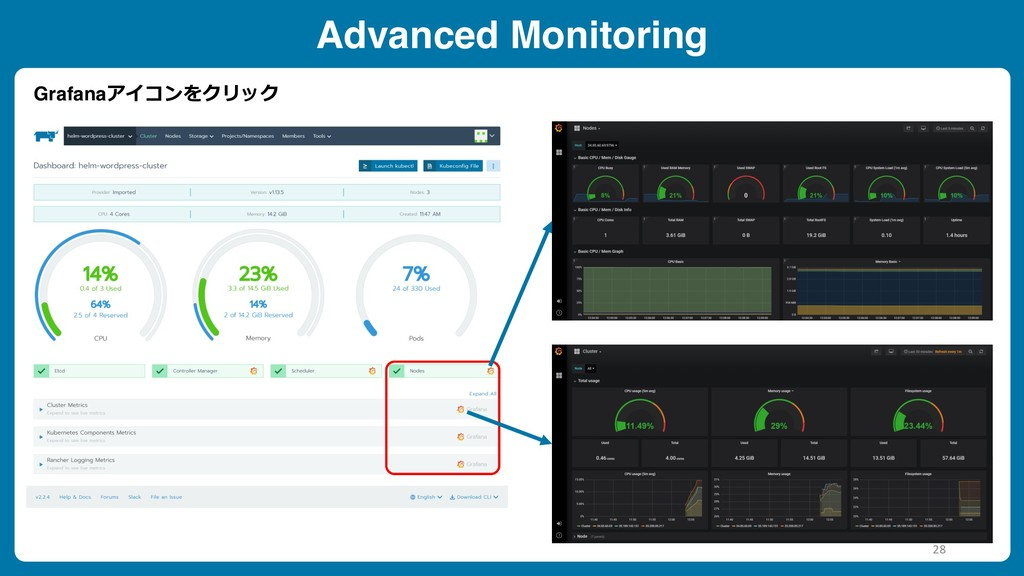 Advanced Monitoring Grafanaアイコンをクリック 28