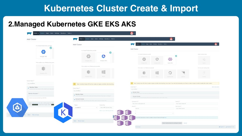 Kubernetes Cluster Create & Import 2.Managed Ku...
