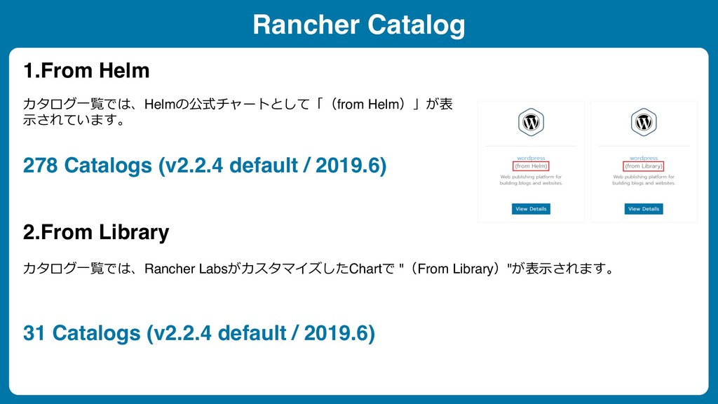 Rancher Catalog 1.From Helm 2.From Library カタログ...