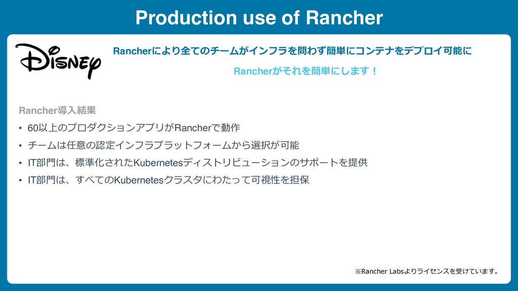 Production use of Rancher Rancher導⼊結果 • 60以上のプロ...