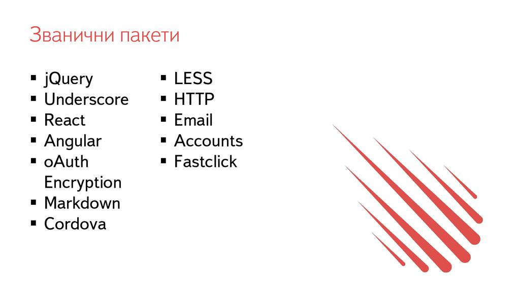 Званични пакети  jQuery  Underscore  React ...