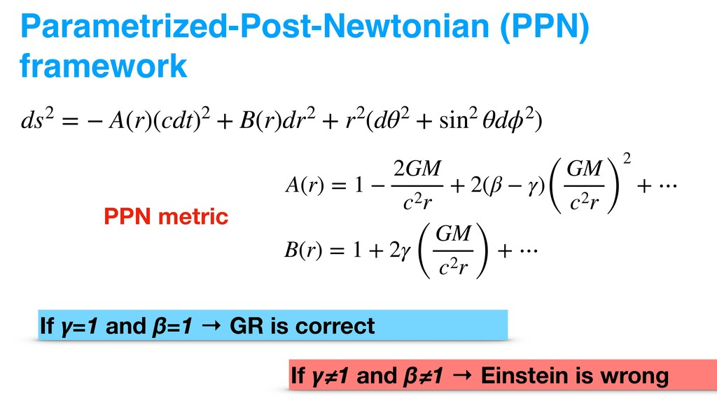 Parametrized-Post-Newtonian (PPN) framework ds2...