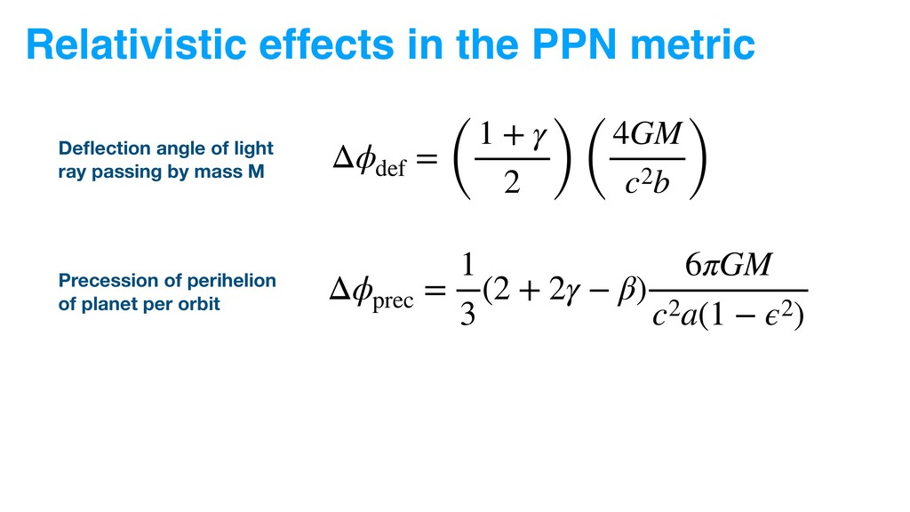 Relativistic effects in the PPN metric Δϕ def =...