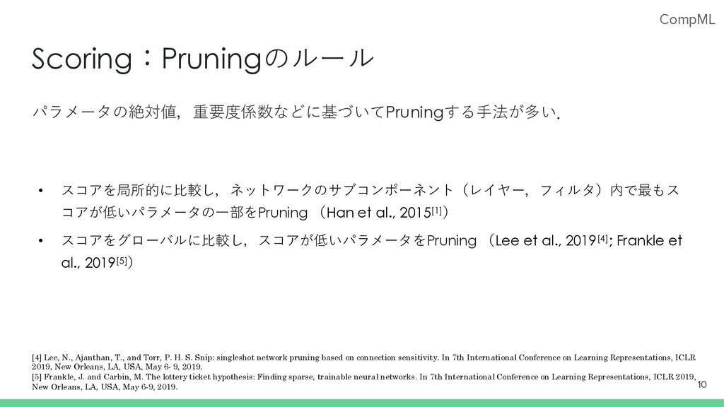CompML Scoring:Pruningのルール パラメータの絶対値,重要度係数などに基づ...