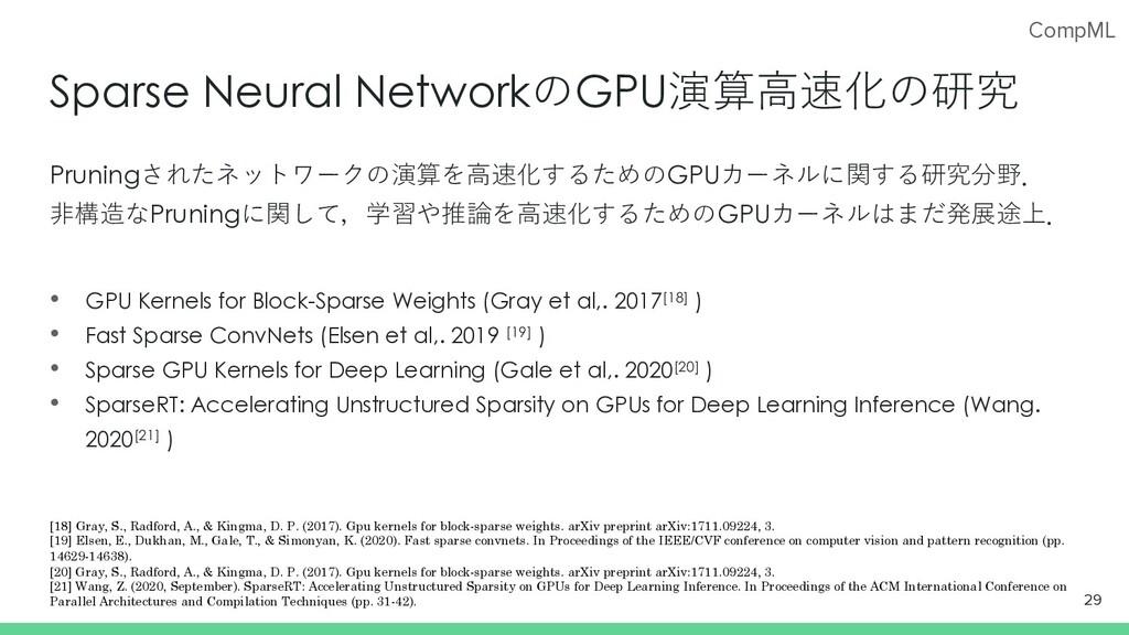 CompML Sparse Neural NetworkのGPU演算⾼速化の研究 Prunin...