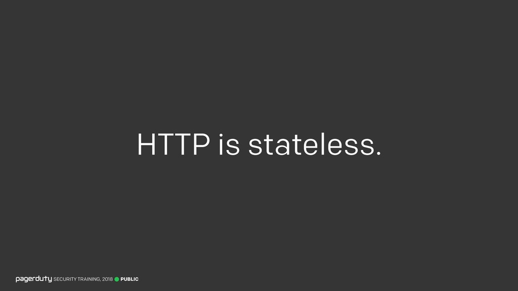 HTTP is stateless. PUBLIC SECURITY TRAINING, 20...