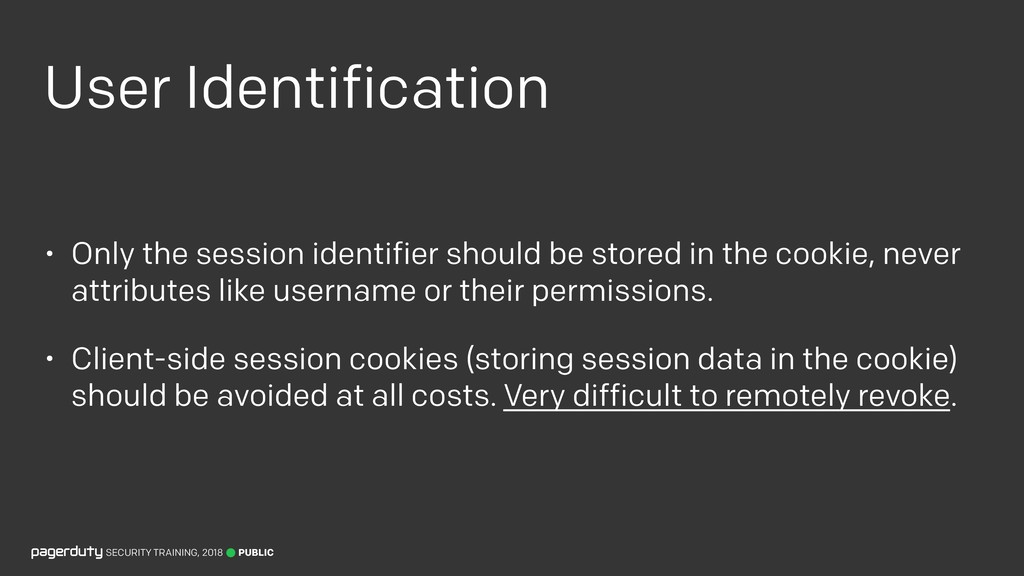 User Identification • Only the session identifi...