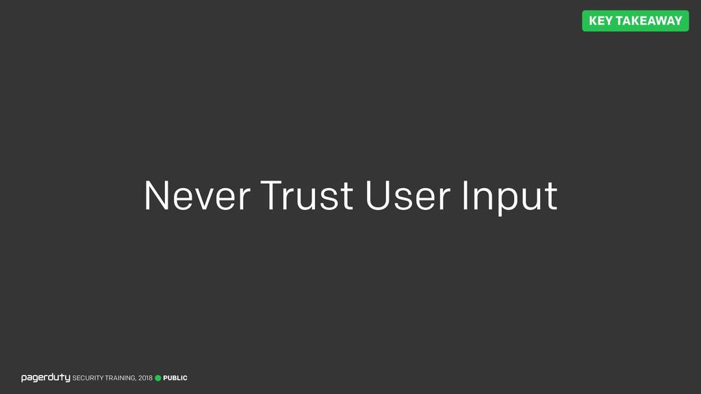 PUBLIC SECURITY TRAINING, 2018 Never Trust User...