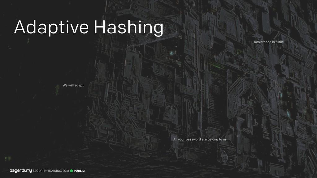 Adaptive Hashing PUBLIC SECURITY TRAINING, 2018...