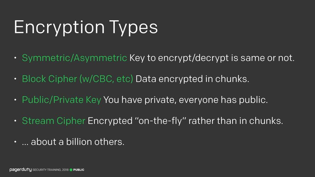 Encryption Types • Symmetric/Asymmetric Key to ...