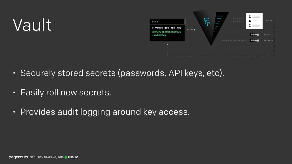 Vault • Securely stored secrets (passwords, API...