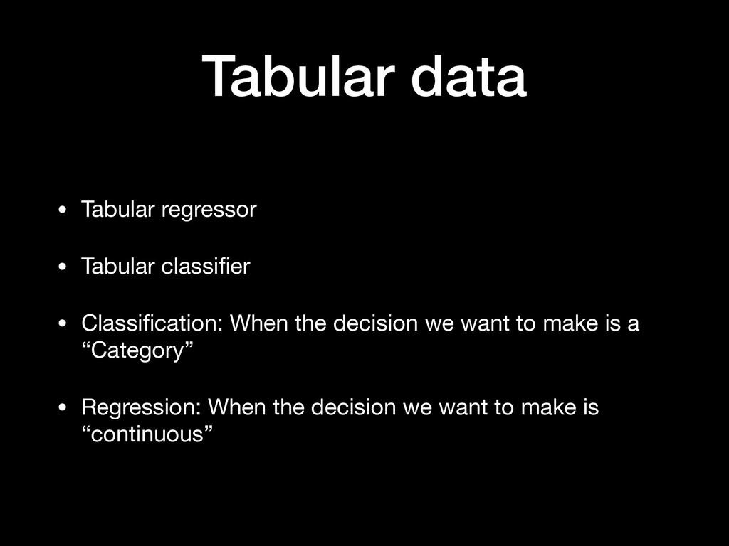Tabular data • Tabular regressor  • Tabular cla...