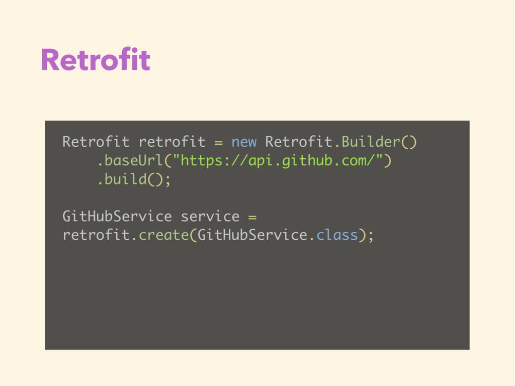 Retrofit Retrofit retrofit = new Retrofit.Builde...