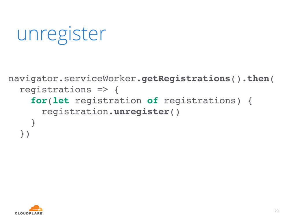 register 29 navigator.serviceWorker.register('s...