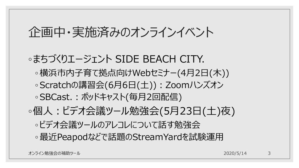 企画中・実施済みのオンラインイベント ◦まちづくりエージェント SIDE BEACH CITY...