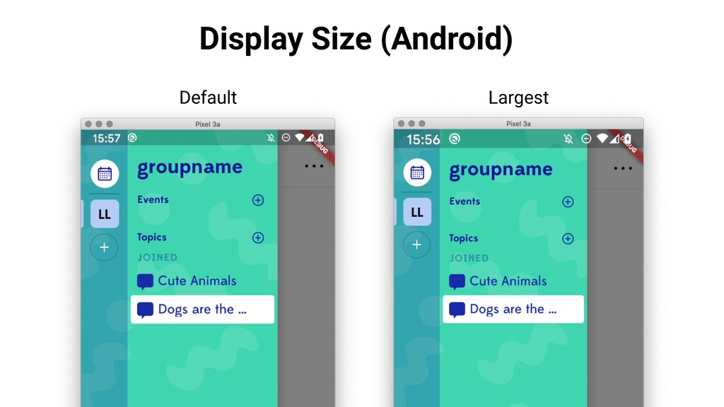 Display Size (Android) Default Largest
