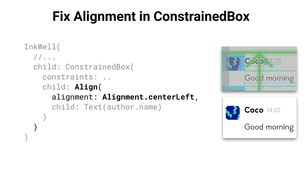 Fix Alignment in ConstrainedBox InkWell( //... ...