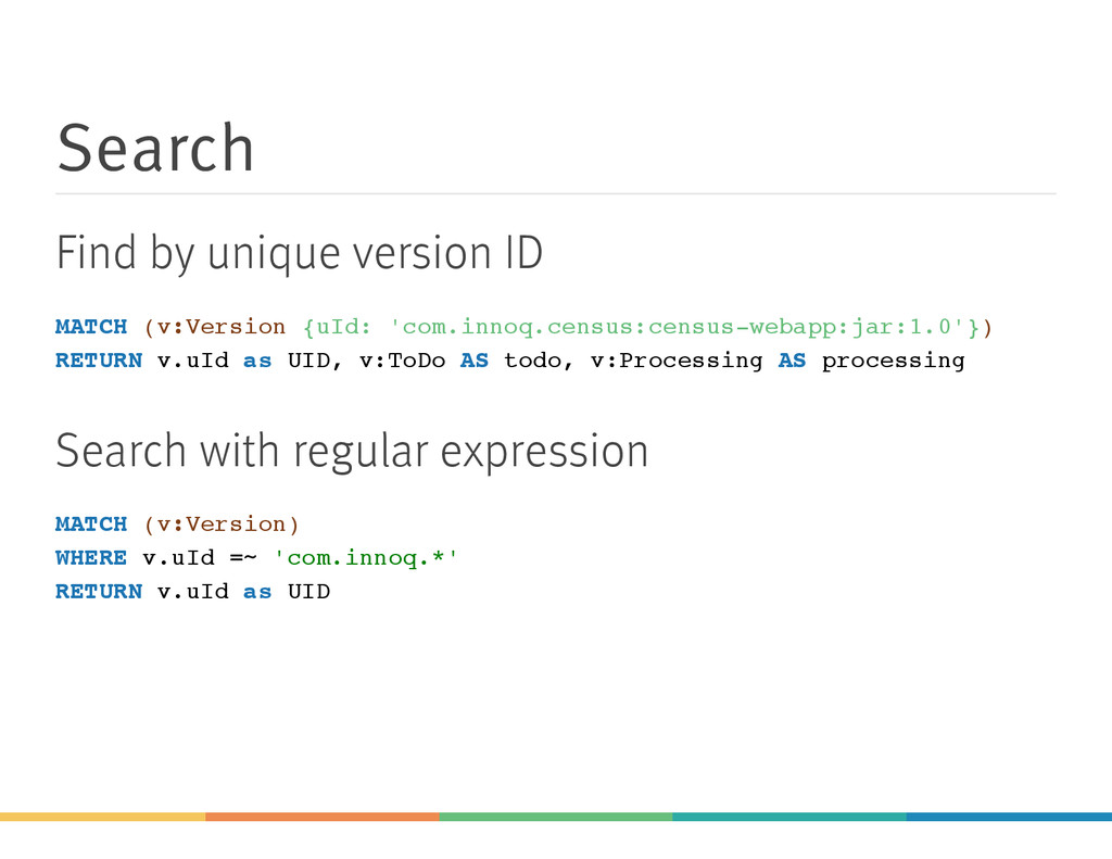 Search Find by unique version ID MATCH (v:Versi...