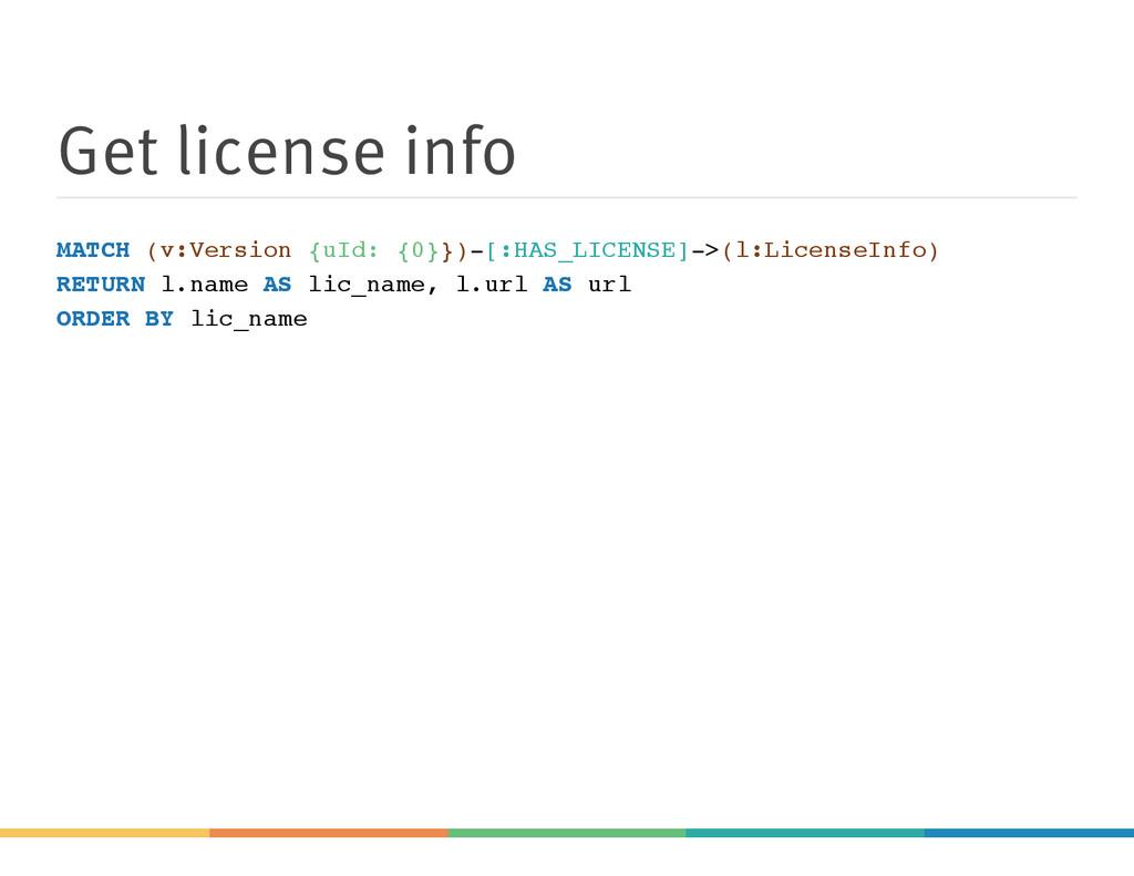 Get license info MATCH (v:Version {uId: {0}})-[...