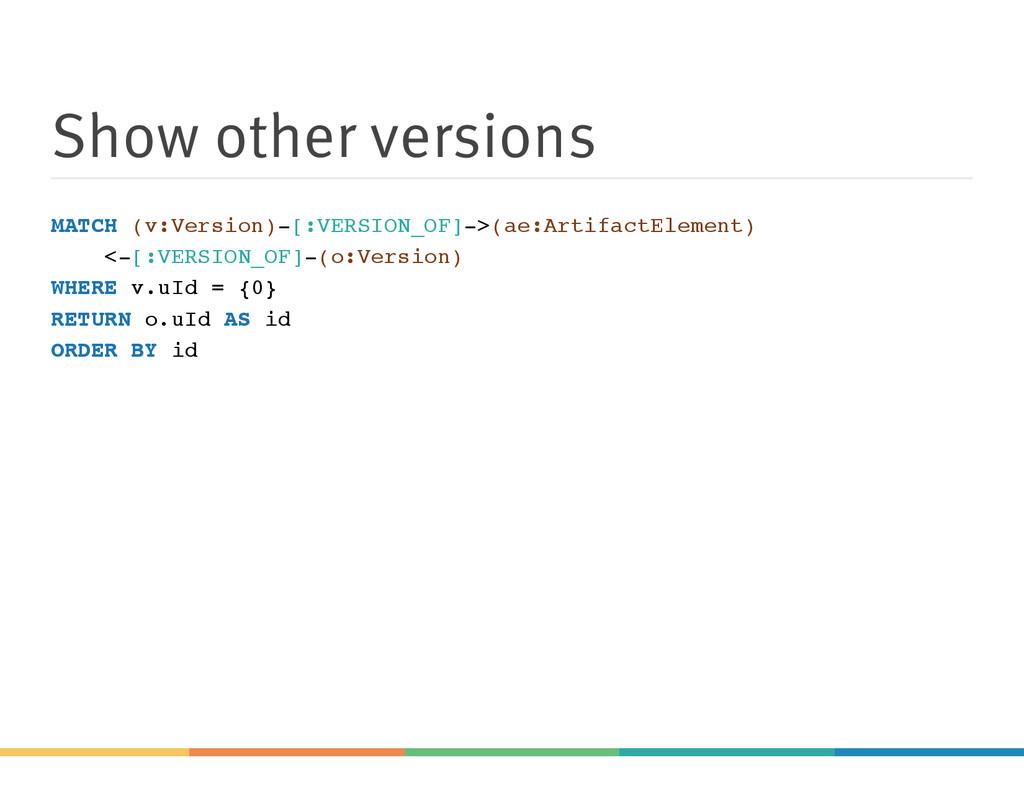 Show other versions MATCH (v:Version)-[:VERSION...