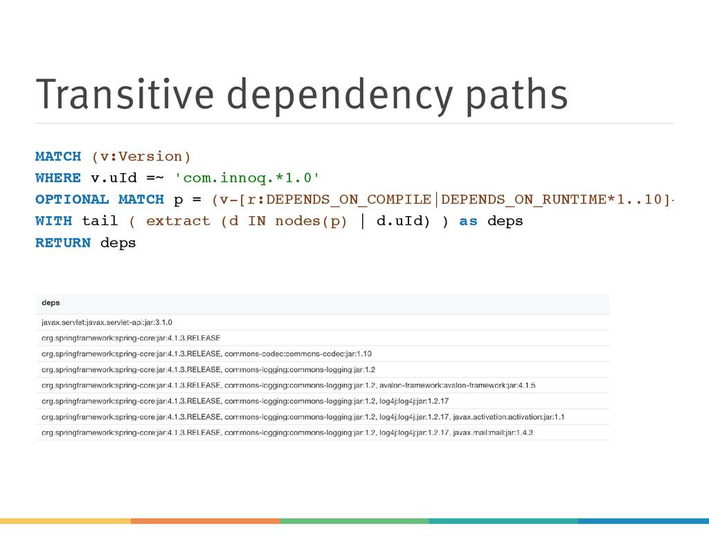 Transitive dependency paths MATCH (v:Version) W...