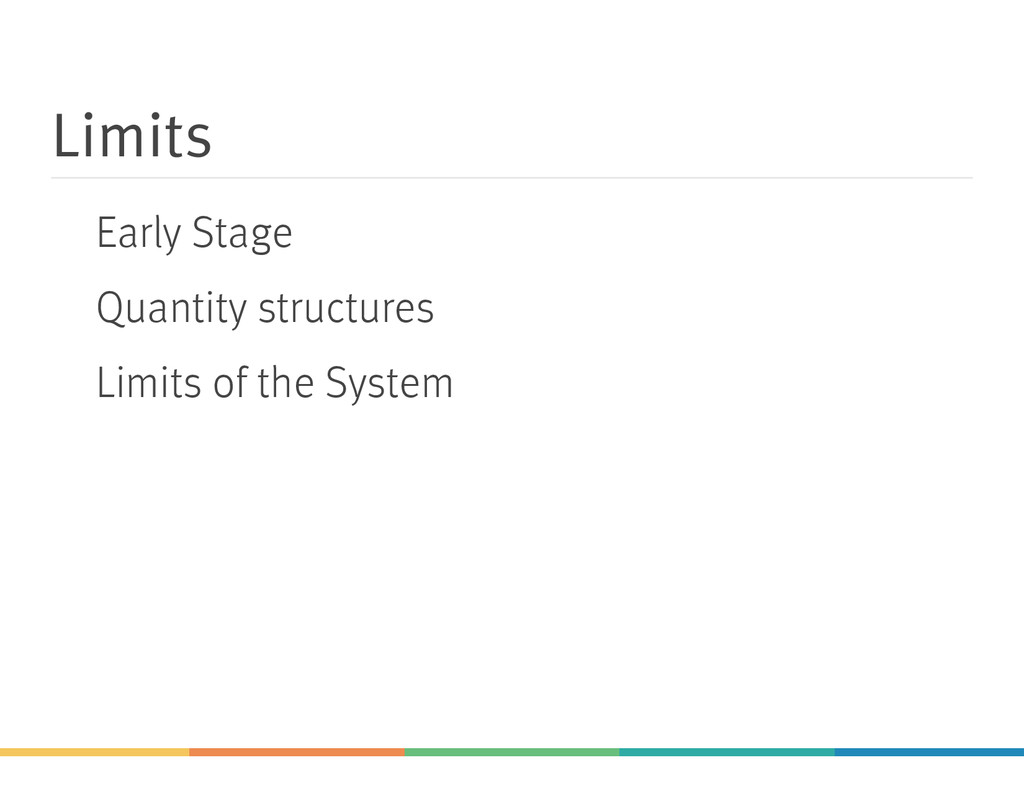 Limits Early Stage Quantity structures Limits o...