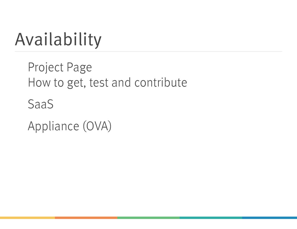 Availability Project Page How to get, test and ...