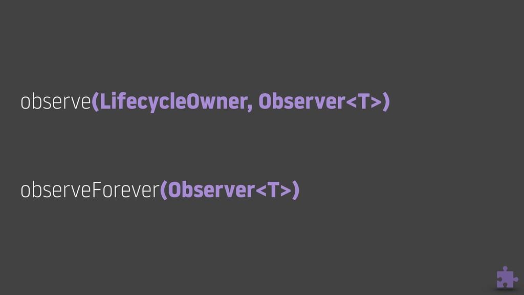 observe(LifecycleOwner, Observer<T>) observeFo...