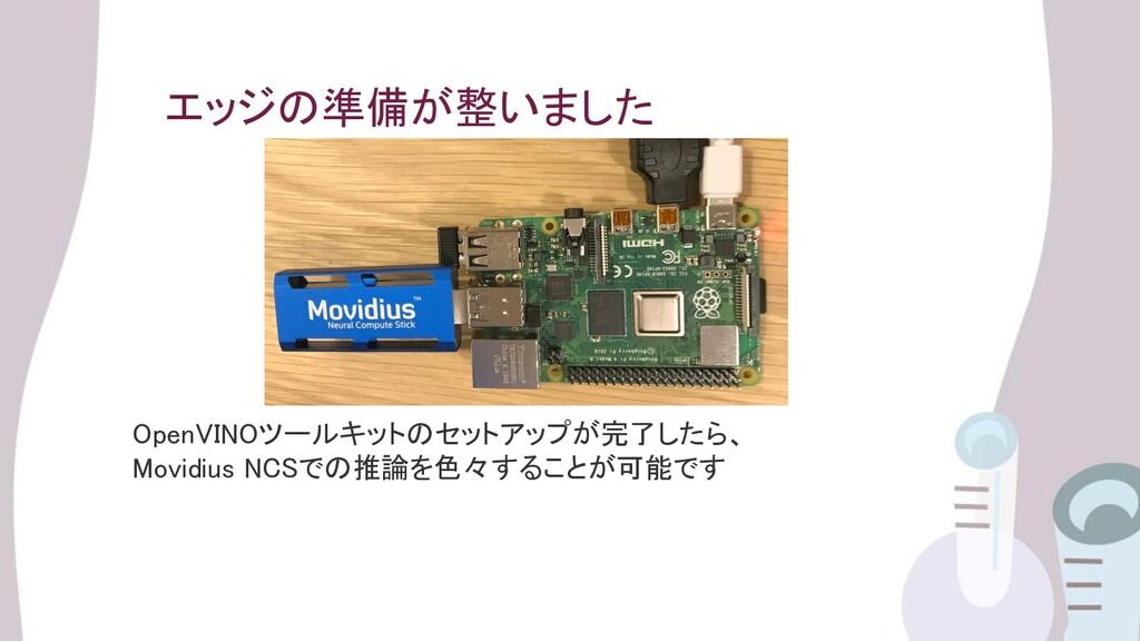 エッジの準備が整いました OpenVINOツールキットのセットアップが完了したら、 Movi...