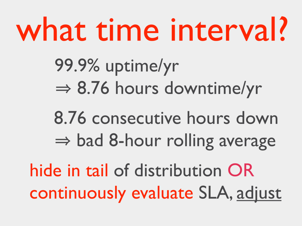 what time interval? 99.9% uptime/yr 㱺 8.76 hour...