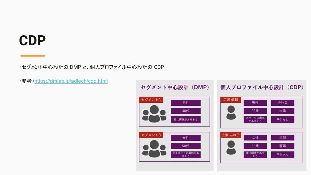 CDP ・セグメント中心設計の DMP と、個人プロファイル中心設計の CDP ・参考)htt...
