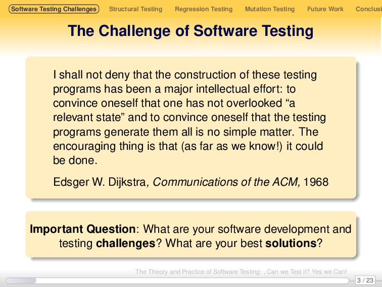 Software Testing Challenges Structural Testing ...