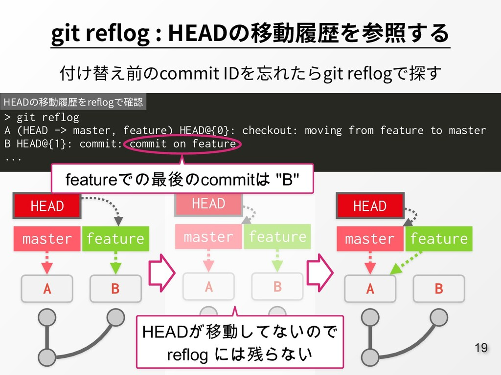 19 git reflog : HEADの移動履歴を参照する > git reflog A (...