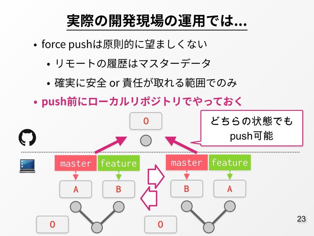 23 実際の開発現場の運⽤では... • force pushは原則的に望ましくない • リモ...