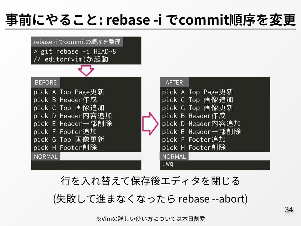 34 事前にやること: rebase -i でcommit順序を変更 > git rebase...