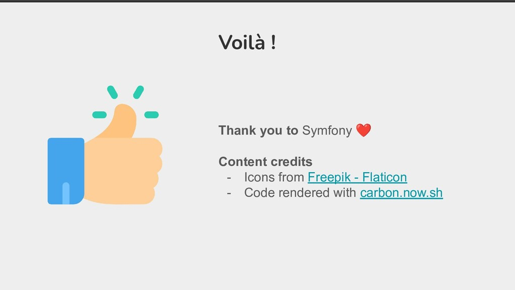 Thank you to Symfony ❤ Content credits - Icons ...